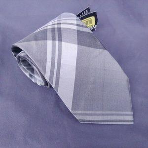 NWT Murano Grey/Silver Plaid Striped Tie